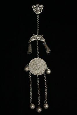 悅年堂 --- 銀 嵌 大日本明治九年 貿易銀元 掛鈴 掛件 胸佩