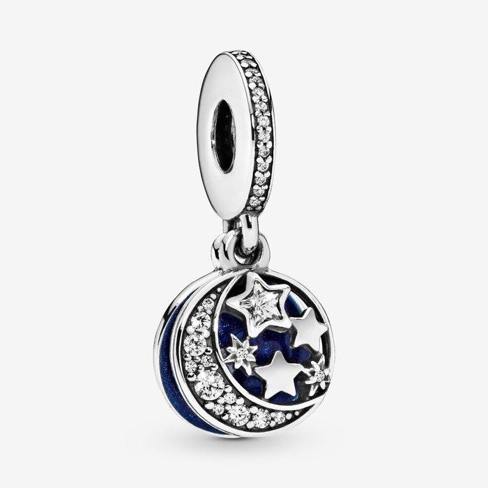 💝【Pandora 潘朵拉】 藍色星空夜空吊墜串珠791993CZ (925純銀+琺瑯) 情人節禮物