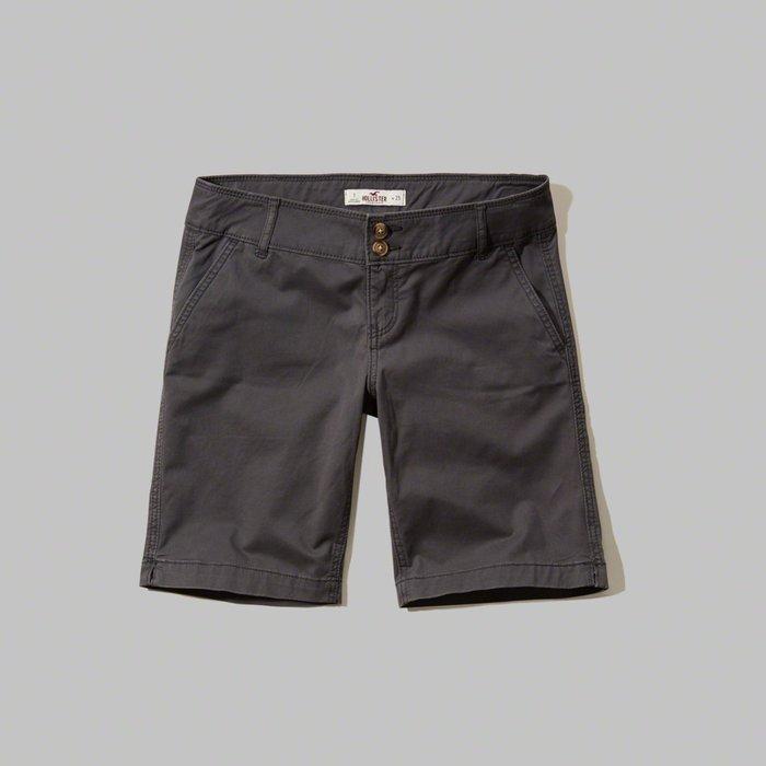 【HOLLISTER Co.】【HCO】HC女款休閒五分短褲雙扣鐵灰 F09160229-33