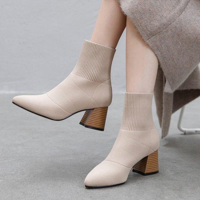 Fashion*尖頭短靴 粗跟高跟鞋 網紅瘦瘦靴 毛線彈力靴 針織襪靴『黑色 杏色』34-39碼
