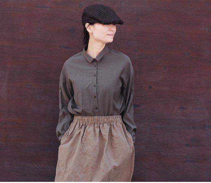 【子芸芳】原著四季款澳州精紡羊毛灰褐綠色乾爽型小翻領單排扣襯衫