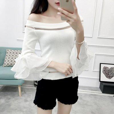夏装新款韩版学生条纹短袖T恤女喇叭袖针织打底衫一字领露肩上衣