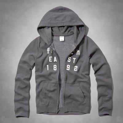 Maple麋鹿小舖 abercrombie&fitch * a&f 男童款深灰色電繡貼布連帽外套*( 現貨XL號 )