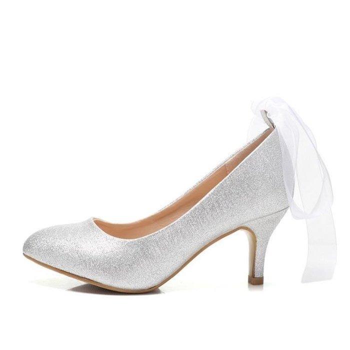 麥麥部落 尖頭細跟高跟交叉綁帶女婚鞋紅色水晶新娘鞋銀色伴娘磨砂低跟搭扣MB9D8