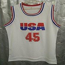夢一隊45號TRUMP川普白色刺繡球衣 USA籃球服 透氣訓練衣 球衣