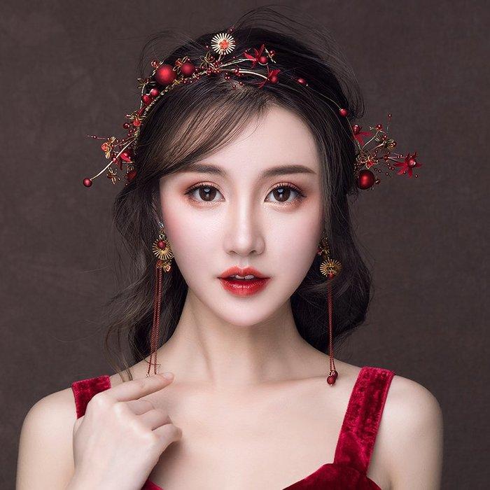 解憂zakka~ 新娘頭飾2019新款結婚紅色韓式婚紗禮服發飾婚禮大氣敬酒服配飾品#頭飾#髮飾