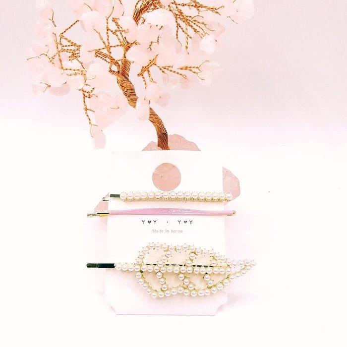 正韓國閃耀鑽飾氣質珍珠優雅美人 梯鑽葉線夾 + 珍珠線夾 + 素線夾 3支線夾(組)韓國製