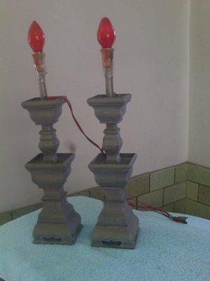 古早期錫製燭台一對 【 很沉重 】