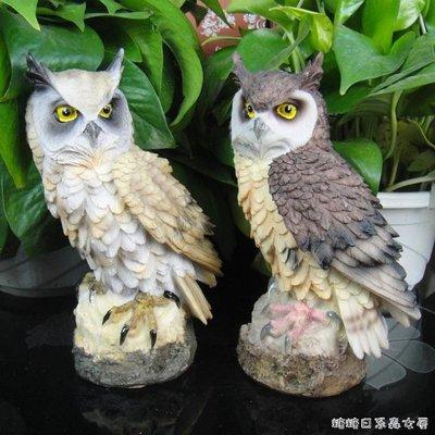 『天天折扣』仿真鳥-仿真貓頭鷹樹脂擺件 守護多肉植物防鳥神器 家居飾品園藝盆栽造景