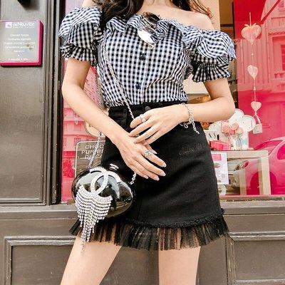 《巴黎拜金女》黑色蕾絲邊牛仔半身裙高腰顯瘦包臀短裙子