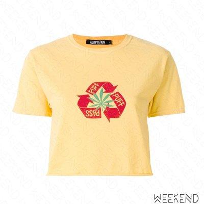 【WEEKEND】 ADAPTATION Puff Puff Pass 短版 短袖 印圖 短袖 T恤 上衣 黃色