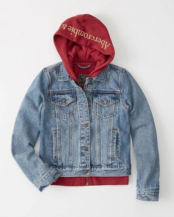 【天普小棧】Abercrombie&Fitch A&F Denim Sweatshirt Jacket兩件式連帽牛仔外套