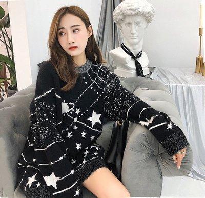 韓國流行 慵懶風 針織洋裝 毛衣洋裝 連身裙 星星月球宇宙 黑色毛衣 長毛衣