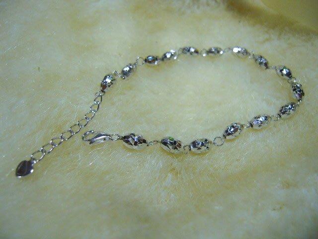 ※水晶玫瑰※ 925純銀刻花橢圓珠造型手鏈(RD115)