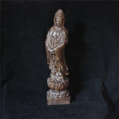 沉香原木雕刻 越南沉香木原木擺件 觀音佛像木雕 雕刻工藝品禮品 木雕觀音 念珠觀音  蓮花觀音 30cm高