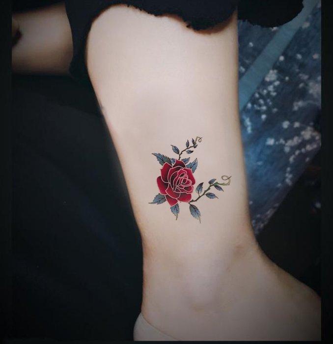 【萌古屋】荊棘玫瑰單圖 - 男女防水韓風簡約紋身貼紙刺青貼紙K13