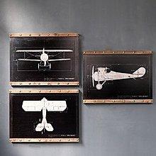 LOFT工業風美式鄉村複古鉚釘老式飛機圖紙掛畫木板畫戰機裝飾畫(三款可選)