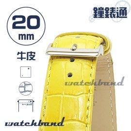 【鐘錶通】C1.32I《亮彩系列-手拉錶耳》鱷魚格紋-20mm 檸檬黃┝手錶錶帶/皮帶/牛皮錶帶┥
