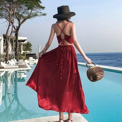 波希米亞E8655度假沙灘顯瘦露背連衣裙/大碼休閒寬鬆時尚顯瘦修身設計款防曬禪風連身裙民族風復古單正品日韓款外套