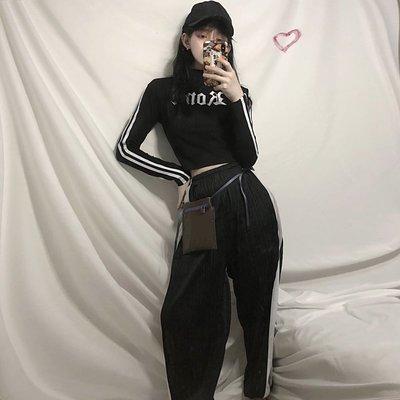 2018新款韓版修身短款印花長袖T恤+褶皺拼色闊腿長褲 套裝學生女