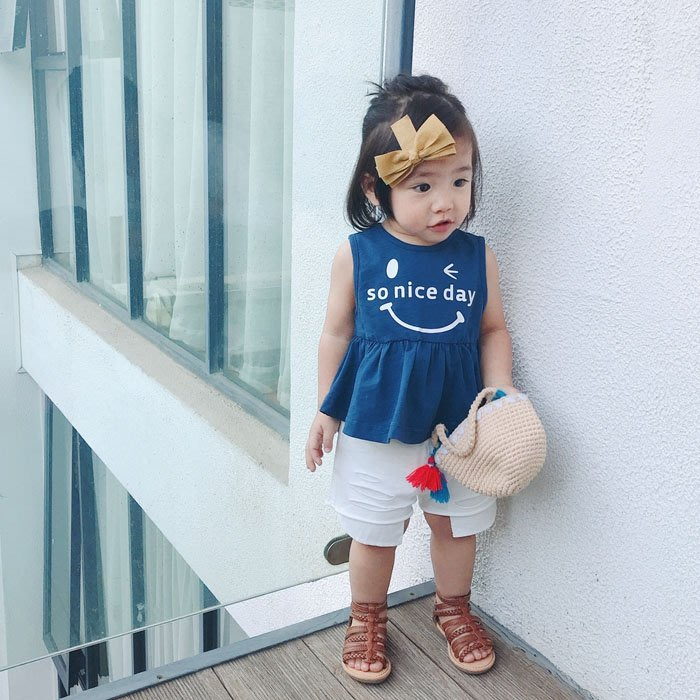 5Cgo【鴿樓】含稅會員有優惠 569280117342 女寶寶背心夏季新款表情印花嬰兒上衣純棉無袖小童休閒吊帶