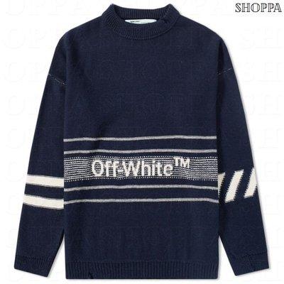 【SHOPPA】OFF-WHITE Distressed LOGO  寬鬆 圓領 毛衣 18秋冬 藍色