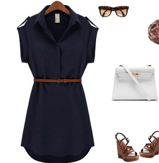 【3787】歐美OL氣質襯衫裙短袖翻領雪紡連衣裙(配腰帶)。樂琪Lucky girl