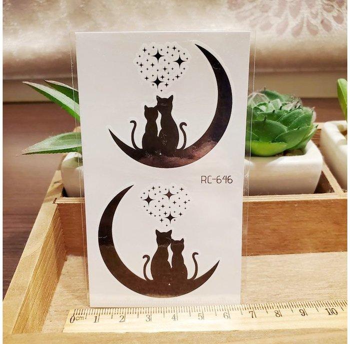 【萌古屋】月下貓 - 男女防水紋身貼紙刺青貼紙RC-646