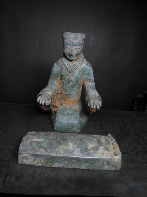 老銅雕◎青銅器 中國出土 撫琴樂師