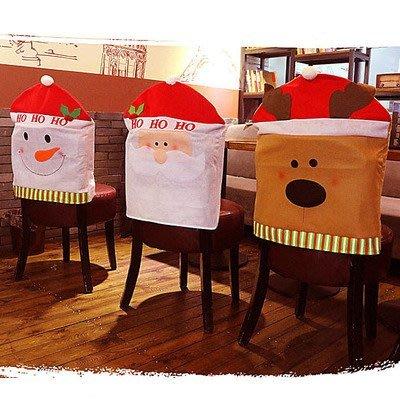 艾莉小舖 聖誕家居裝飾品 聖誕節用品 Q版老人雪人麋鹿椅子套 聖誕椅子套