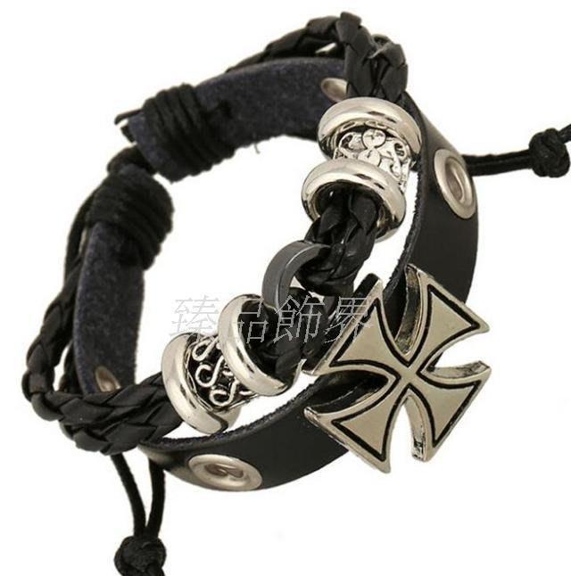廠家直銷真皮手鍊合金串珠十字架牛皮手鍊古羅馬手鍊bracelet