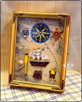 大航海時代時鐘鑰匙箱 繩結鑽油工人大帆船世界地圖指南針槳key box項鍊飾品收納掛勾壁掛壁架鑰匙圈吊飾【【歐舍家飾】】