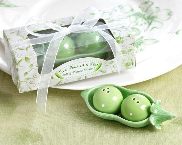 ☆命中注定☆可愛豌豆調味罐,婚禮小物,二次進場歐美禮品.