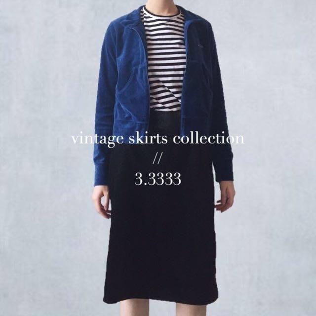 - vintage - 日本製・古著/復古天鵝絨壓紋高腰裙