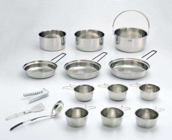 【大山野營】台灣製造 文樑 ST-2015  豪華鍋具組 露營炊具 不鏽鋼鍋具 不鏽鋼碗 煎盤