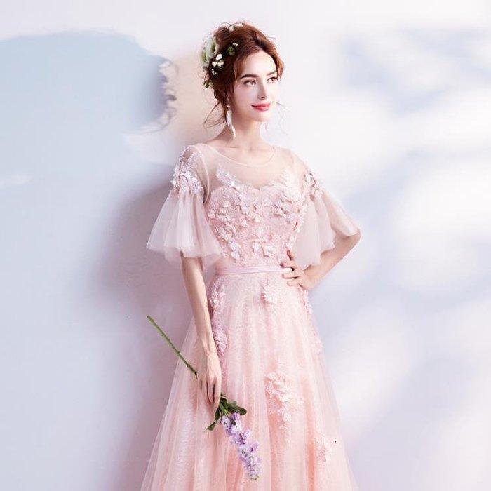 仙仙立體花朵 粉色新娘婚紗敬酒服晚宴年會演出禮服5976Y-優思思