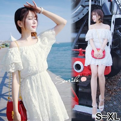 【V2413】SMILE-輕柔微夏‧蕾絲一字領收腰連身裙洋裝
