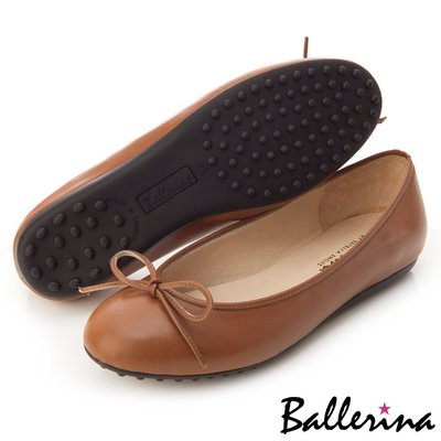 Ballerina-MIT全真皮蝴蝶結柔軟豆豆鞋-咖【BS600003FE】
