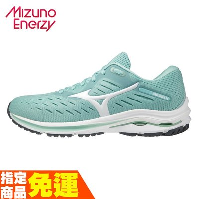 MIZUNO WAVE RIDER 24 一般楦 女款一般型慢跑鞋 湖水綠 J1GD200301 贈腿套 20SS