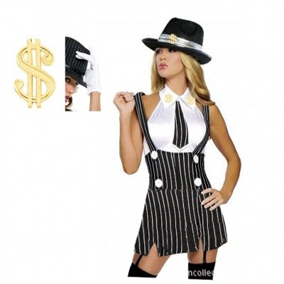 歐美新款性感爵士舞演出服 gangster costume