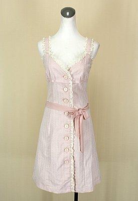 ◄貞新►wealth honor 山型屋 粉紅V領無袖蕾絲棉質洋裝似Knightsbridge(31843)