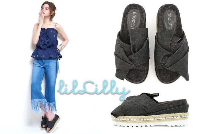 SHINY SPO 獨家代理日本品牌 lilLilly 軟木塞綁帶厚底鉚釘鬆糕拖鞋 駝色黑色白色