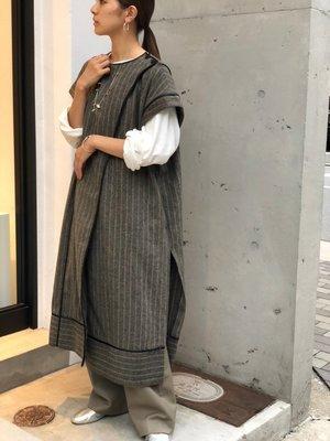 【預購】日本連線TODAYFUL冬20新入荷Piping Stripe Gown條紋毛料短袖長款罩衫外套洋裝長裙連衣裙