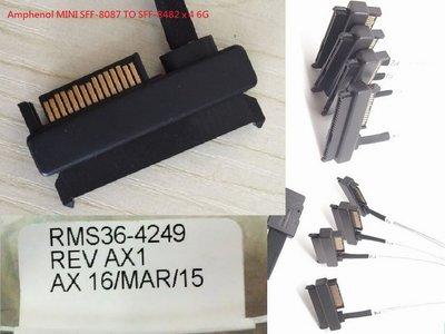 (促銷)全新Amphenol 安費諾 MINI-SAS SFF-8087 TO SFF-8482x4 6G  SAS硬碟專用