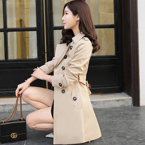風衣   中長款  修身顯瘦  大碼女裝  大衣外套潮—莎芭
