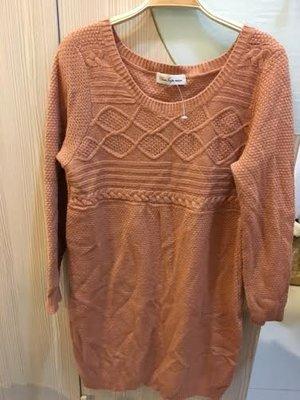小花別針、專櫃日本品牌【CLEAR IMPRESSION 】藕咖色長版毛衣連身裙洋裝