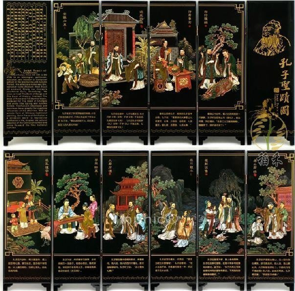 INPHIC-木質工藝品小屏風書房書桌裝飾擺飾教授孔子聖跡圖