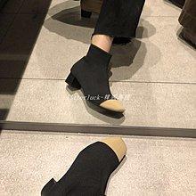 litterluck-韓國專櫃本期zui愛 方頭拼色粗跟短靴女毛線針織顯瘦彈力襪靴百搭馬丁靴