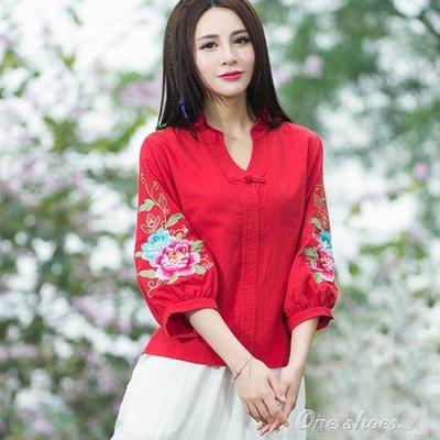 民族風女裝 v領繡花襯衣中國風寬鬆棉麻七分袖刺繡上衣