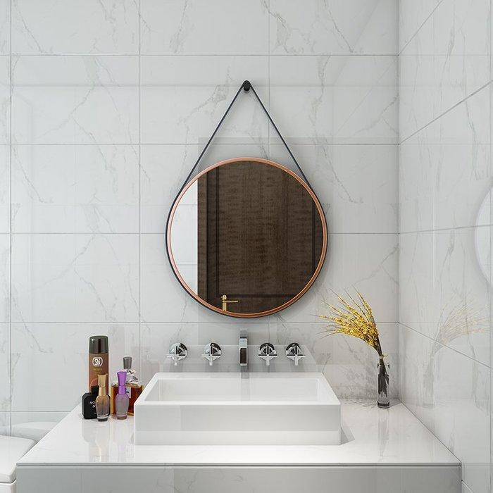 ABOUT。R 時尚掛繩圓鏡歐式浴室鏡圓形鏡化妝鏡洗漱衛浴鏡壁掛鏡子洗手台儀容鏡鐵藝鏡(2種尺寸可選)
